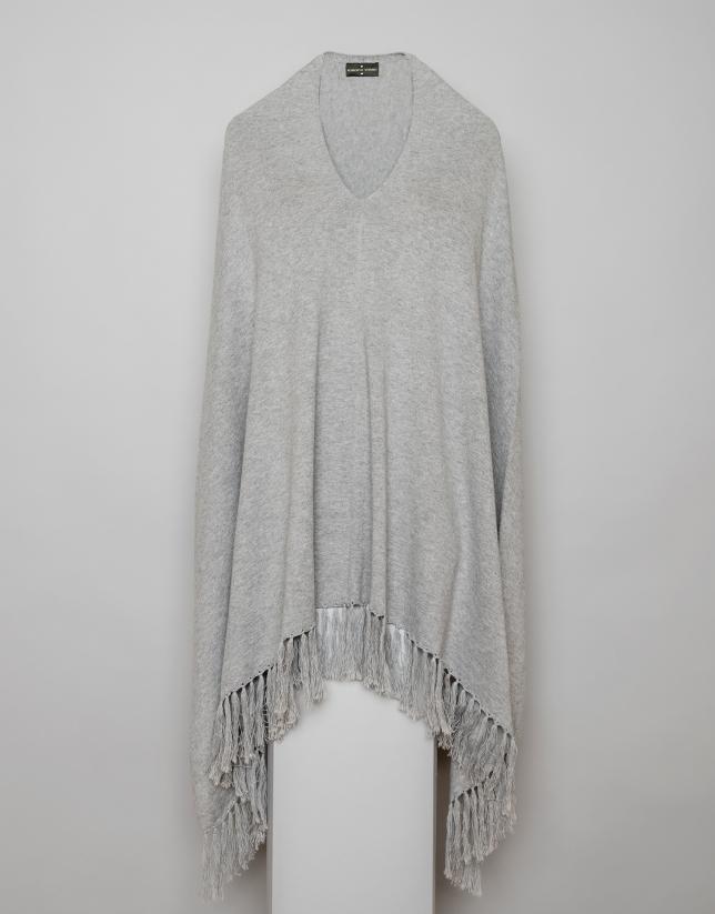 Grey cape with fringe