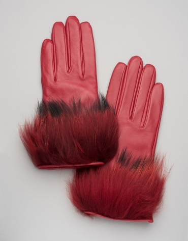 Red leather and fur gloves