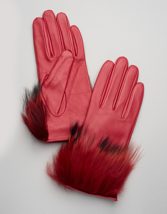 Gants en cuir avec poil de carcajou rouge