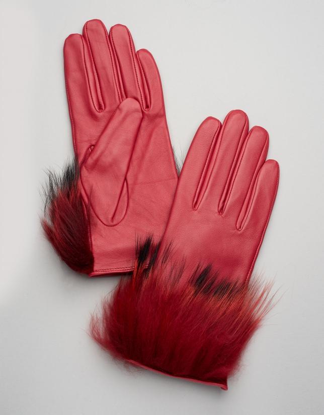 Guantes de piel con pelo rojo mujer oi2017 roberto for Guantes de piel madrid