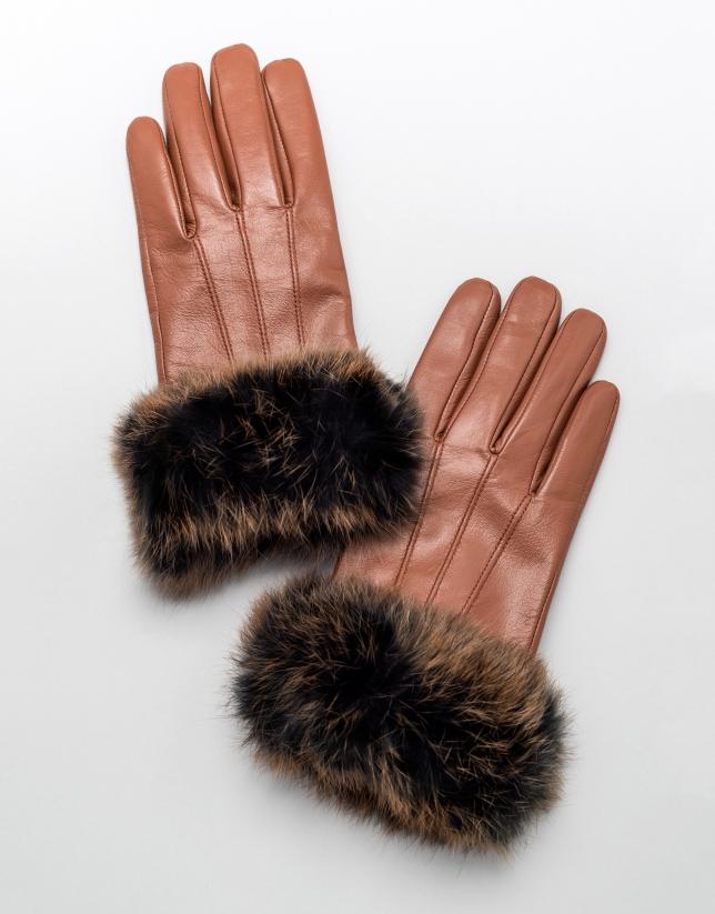 Gants en cuir marron avec bord-côte en poil de lapin