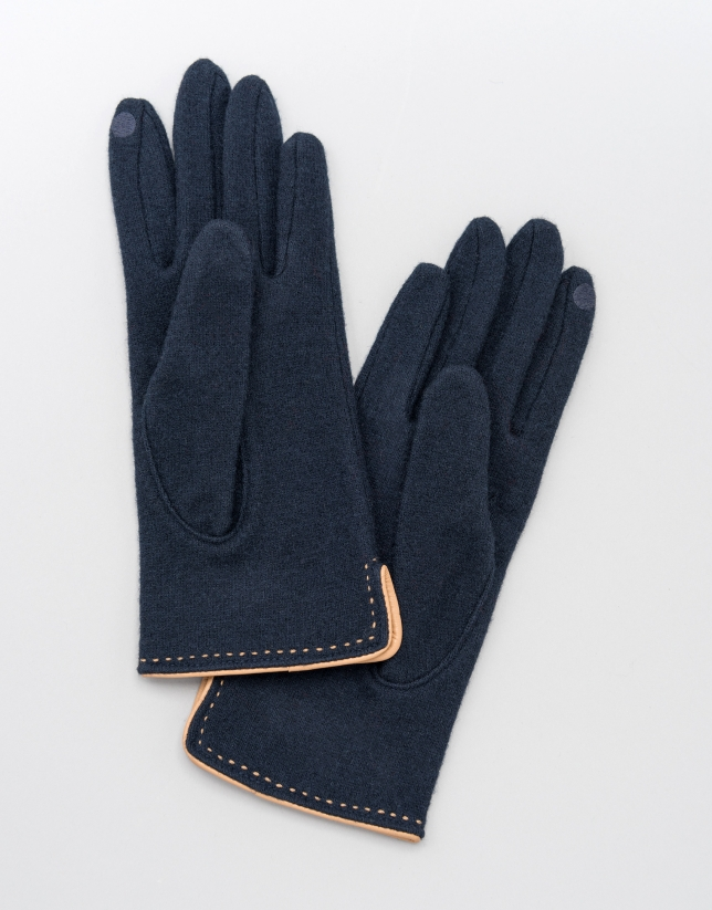 Blue knit gloves with beige leather trim