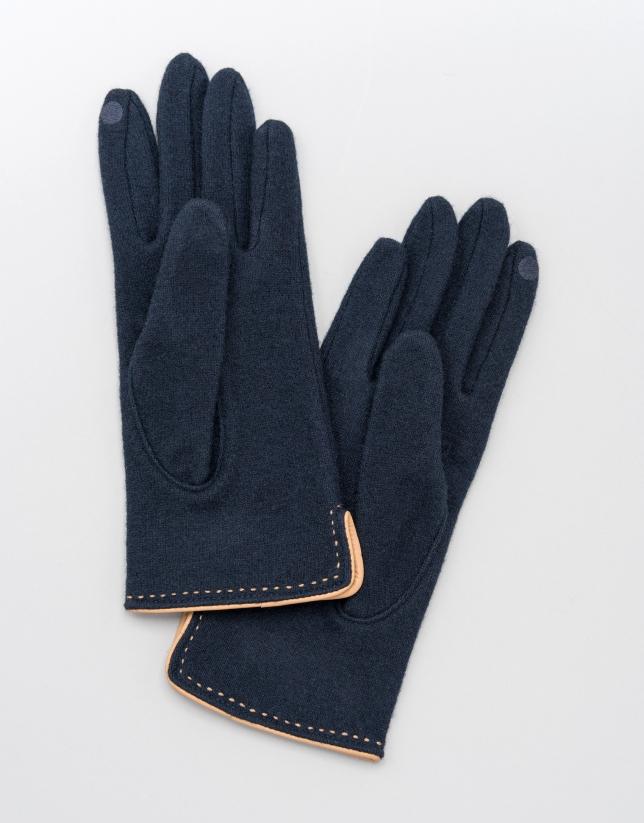 Gants en laine bleu avec bord-côte en cuir beige
