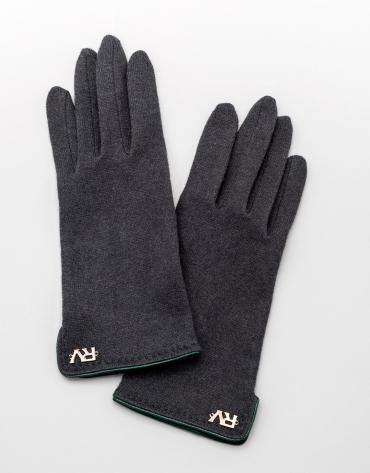 Gants en laine gris avec bord-côte en cuir vert