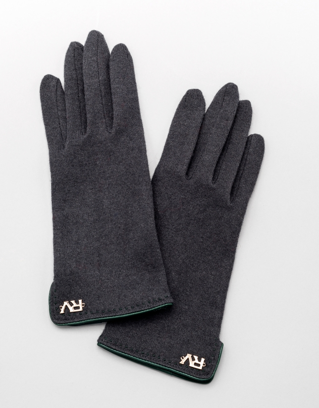 Gray knit gloves with green leather trim