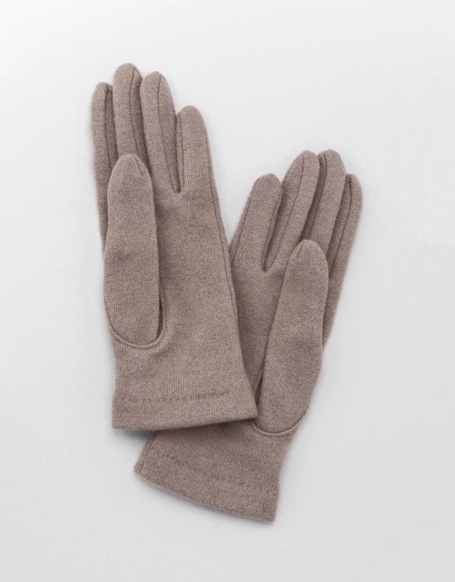 Gants en laine beige avec pompon