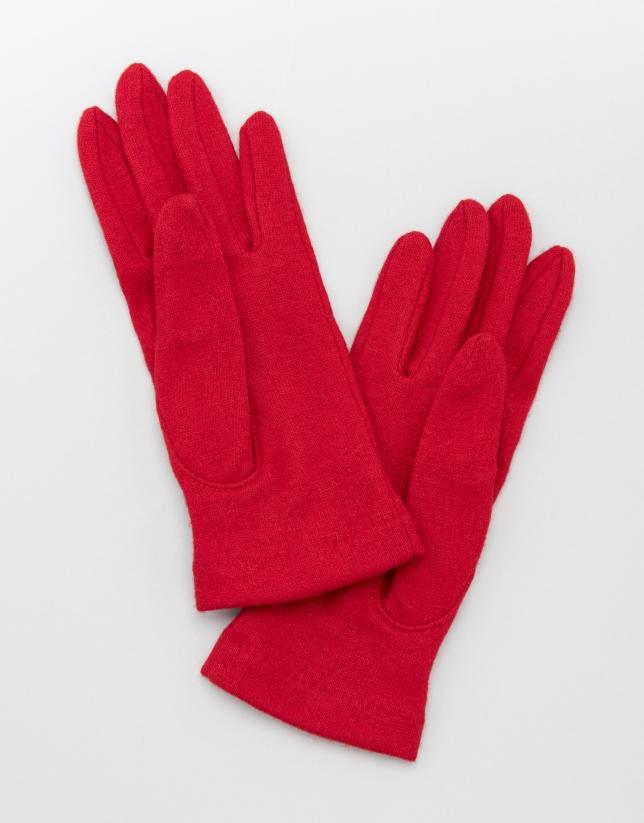 Gants en laine rouge avec pompon