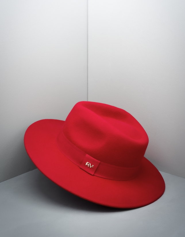 Red wool fedora hat