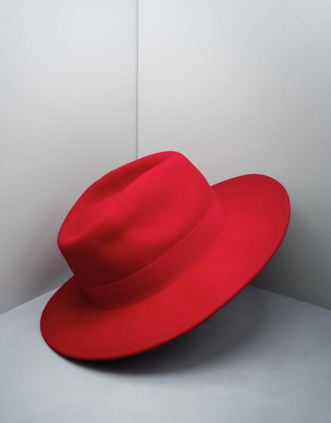Chapeau Fédora en laine rouge