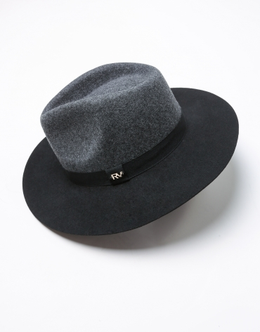 Grey and black wool fedora hat