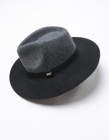 Grey and black wool fedora hat