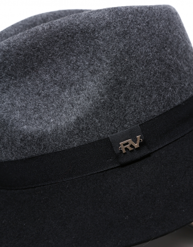Sombrero fedora lana gris/negro