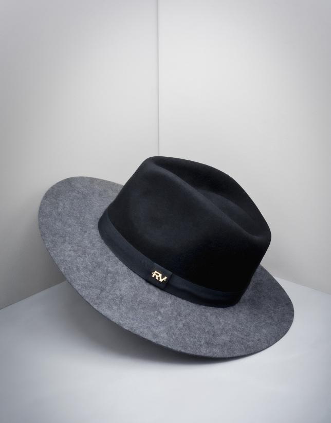Black and grey wool fedora hat