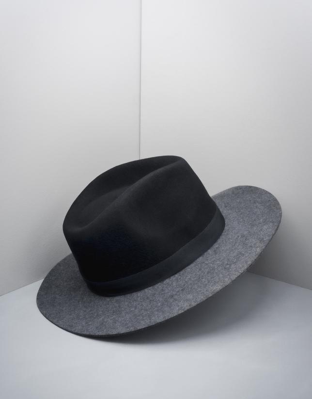 Chapeau Fédora en laine noir/gris