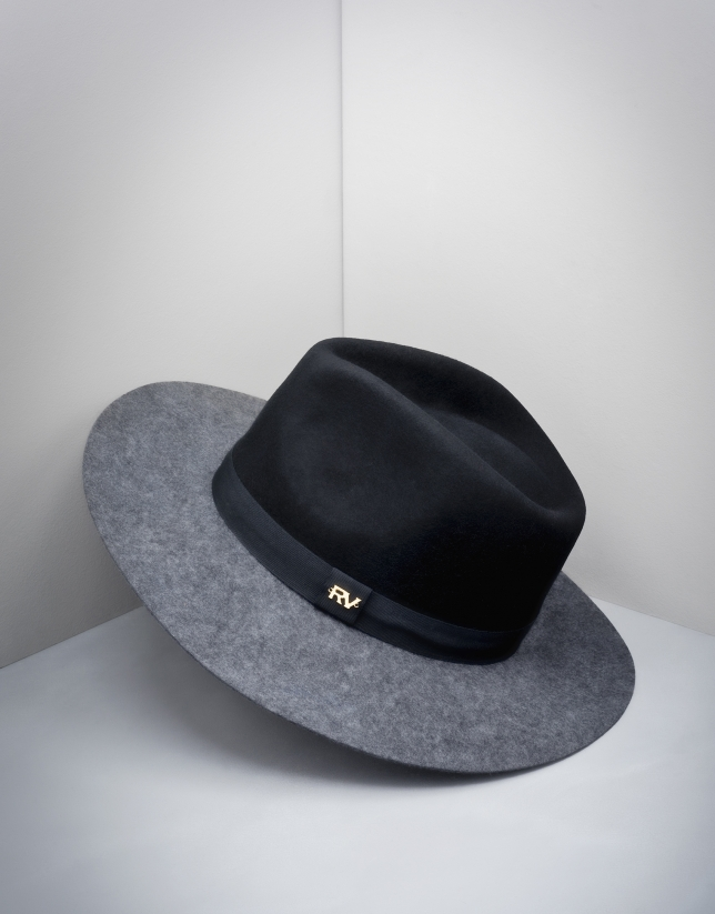 Black and grey wool fedora hat