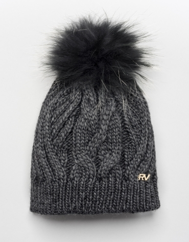 Grey cable knit wool cap with pompom