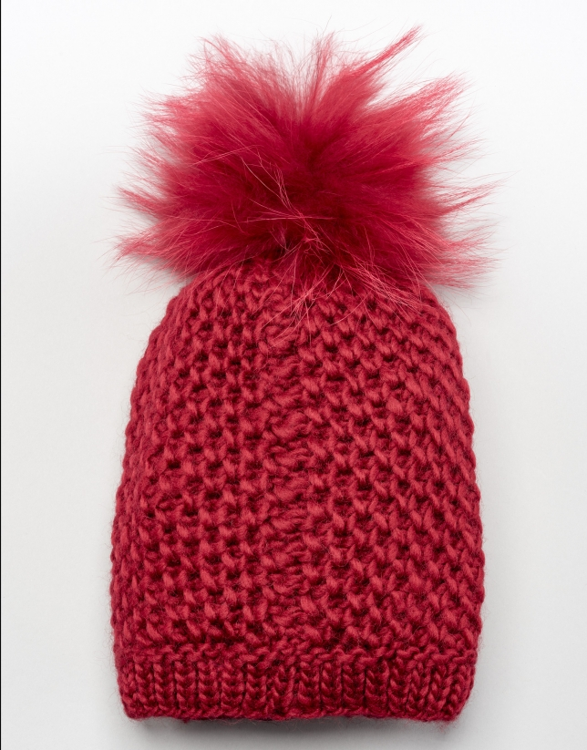 Red wool cap with pompom