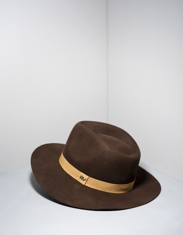 Brown wool fedora hat with beige ribbon