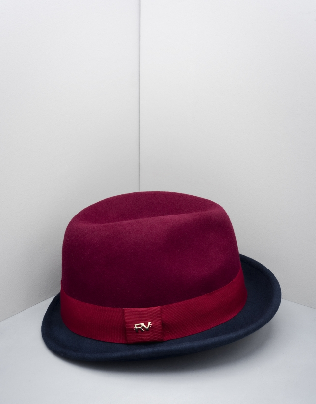 Burgundy and blue Borsalino hat