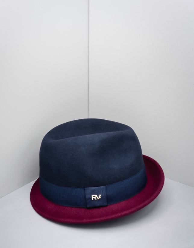 Blue and burgundy Borsalino hat