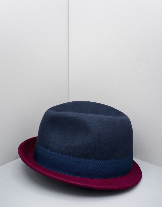 Chapeau borsalino bicolore bleu/grenat
