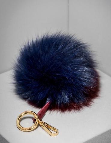 Charm pompon bicolore grenat/bleu