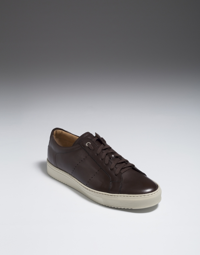 Brown leather sneakers with perforated sides