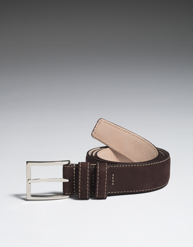 Brown nobuck belt