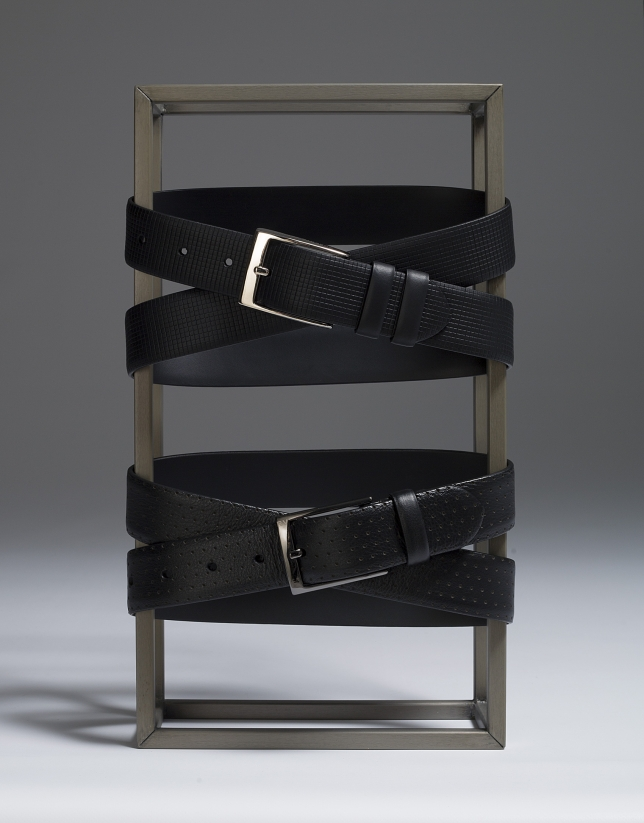 Cinturón piel perforada negro