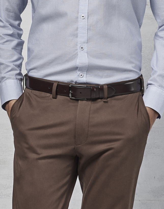 Cinturón de vestir en piel burdeos