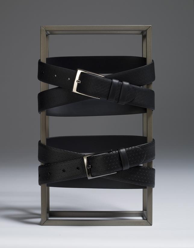 Cinturón piel grabado negro