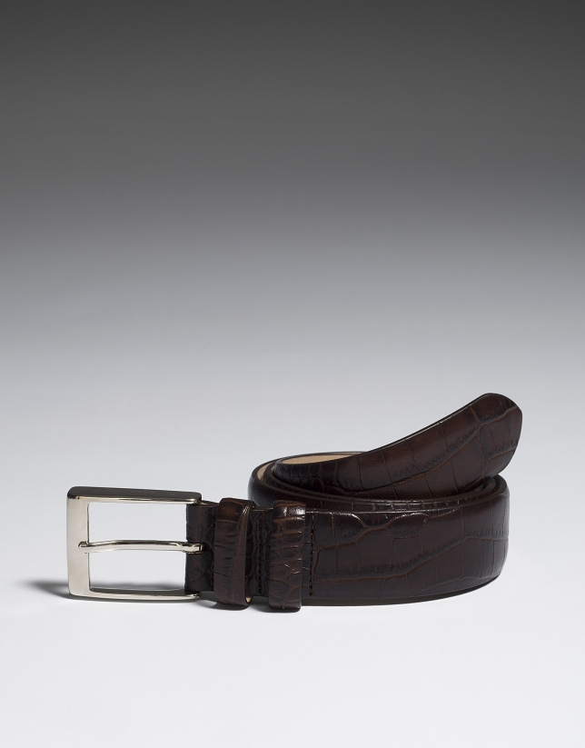 Brown alligator embossed leather belt