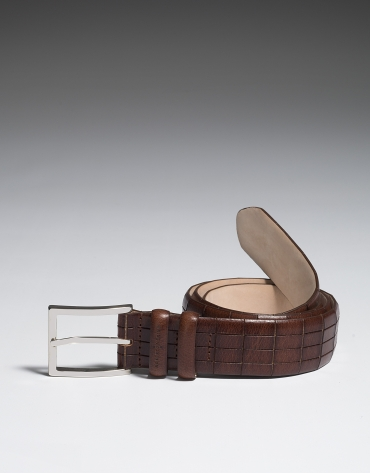 Brown leather belt with geometric embossing