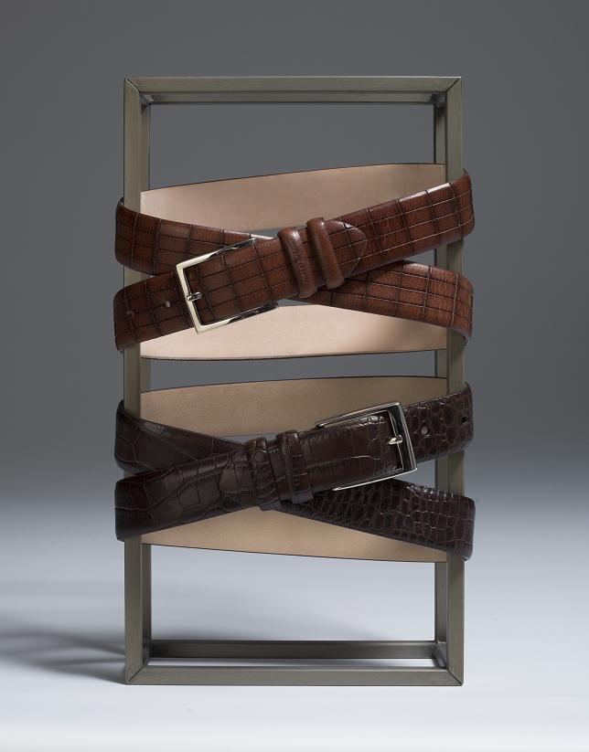 Cinturón piel grabado geométrico marrón