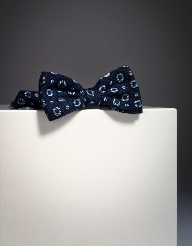 Navy blue wool bowtie with light blue circles