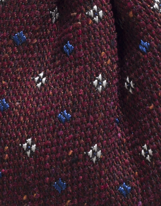 Maroon wool bowtie with light blue dots