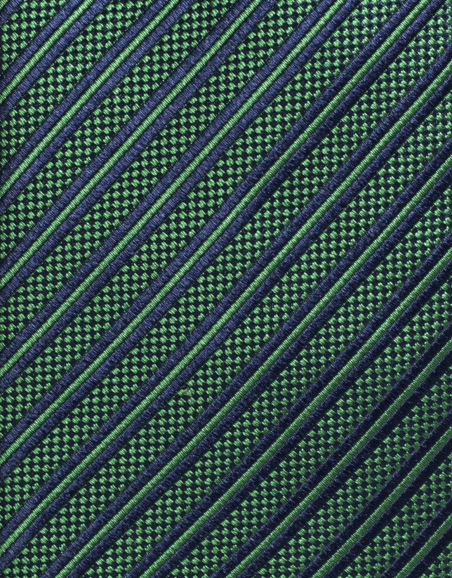 Corbata seda verde con raya marino