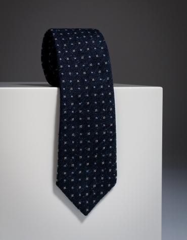 Corbata lana cuadritos / fantasía color marino
