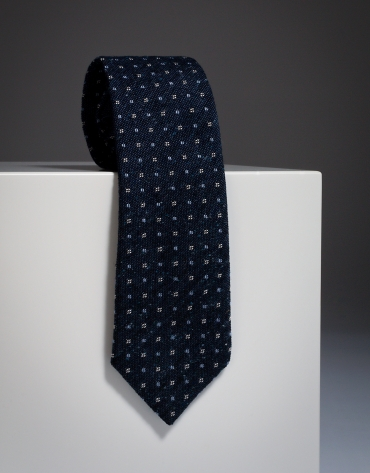 Navy blue checked wool tie