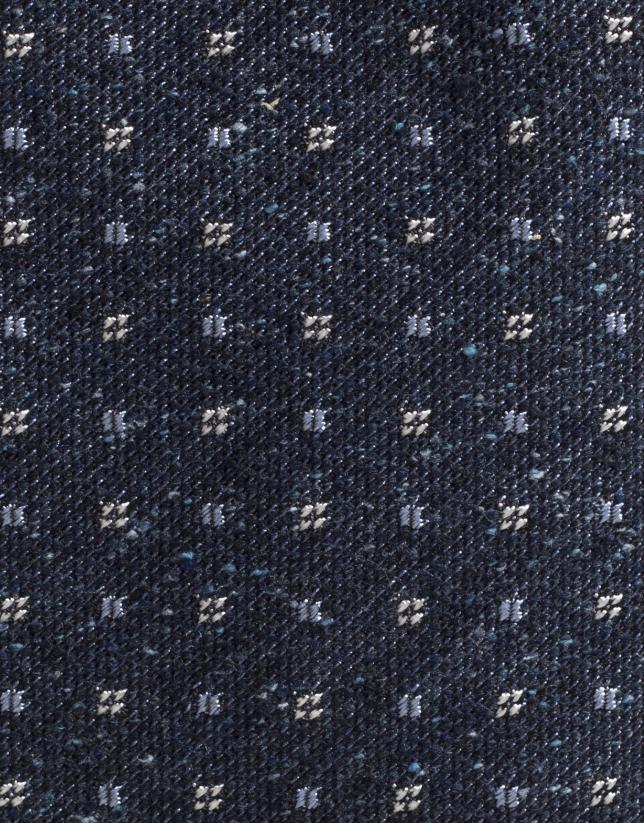 Cravate en laine à petits carreaux/fantaisie bleu marine