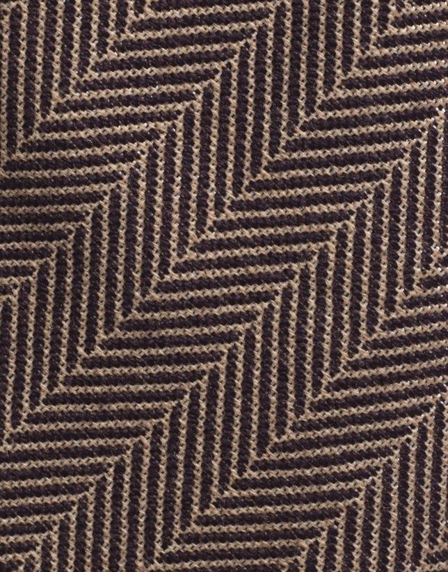 Gray/maroon wool herringbone tie