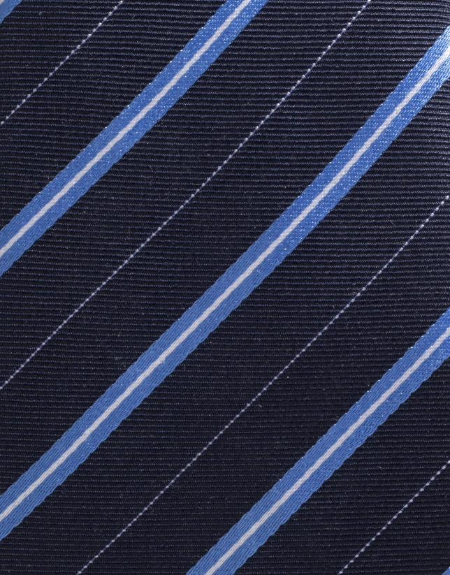 Navy blue silk tie with light blue stripes