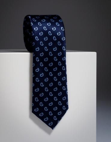 Cravate en soie bleu marine avec des amibes en bleu ciel
