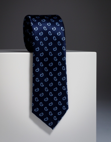 Navy blue silk tie with light blue paisley print