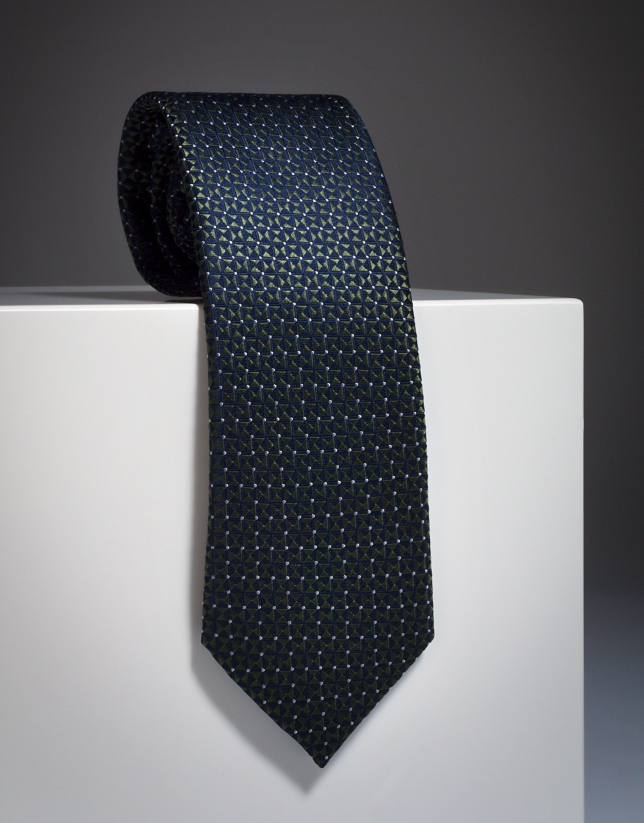 Navy blue silk tie with green diamond design