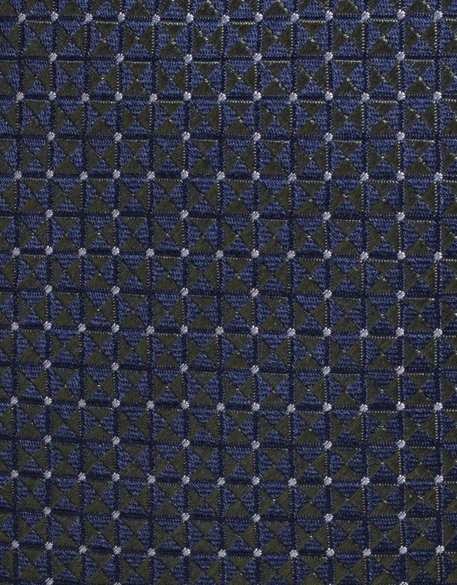 Cravate en soie bleu marine avec profil de losanges verts