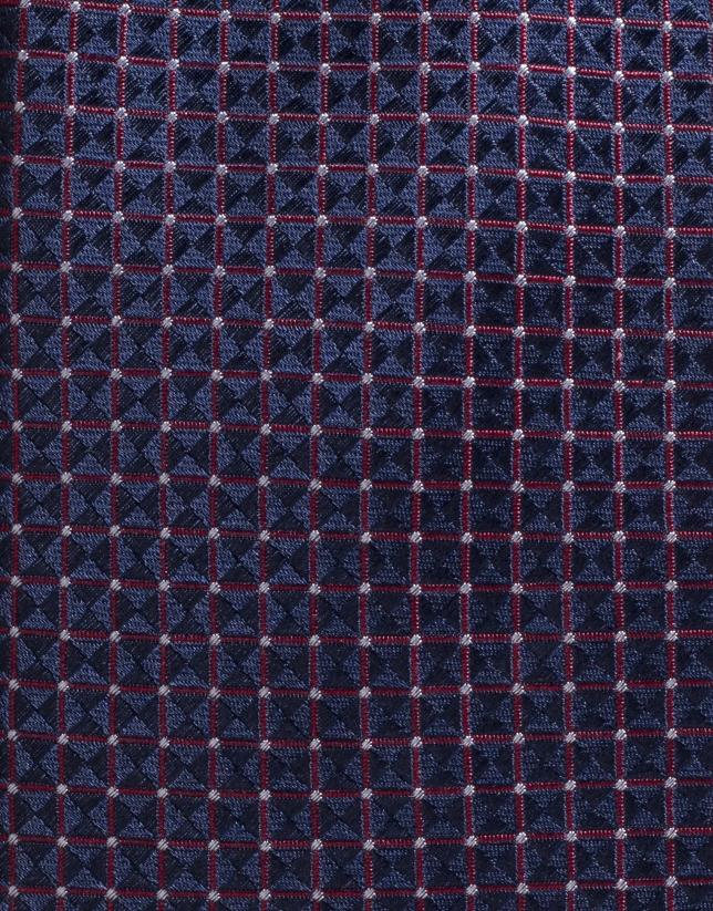 Cravate en soie rouge avec des pois écrus