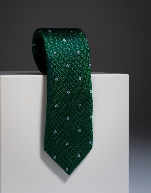 Cravate en soie verte avec de gros pois écrus