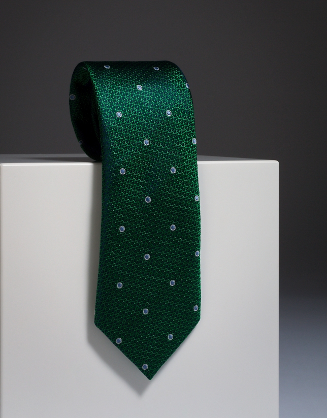 Green silk tie with large ivory dots