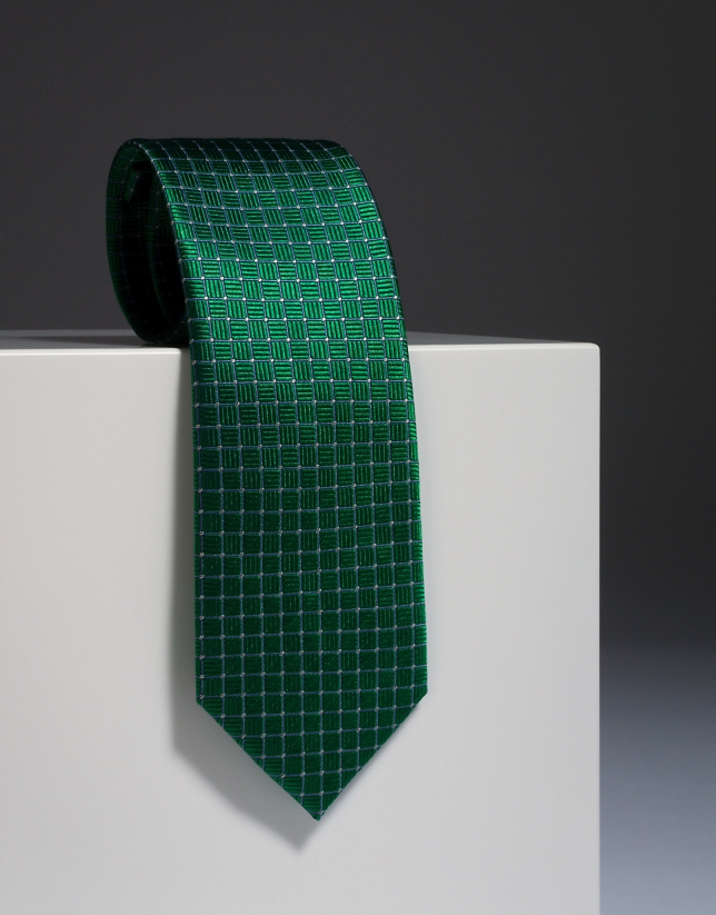 Green silk tie with ivory design
